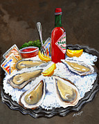 Oysters Painting Prints - Raw Oysters on Ice Print by Elaine Hodges
