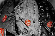 Baseball Glove Posters - Rawlings In Red Poster by Jame Hayes