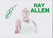 Boston Celtics Drawings Posters - Ray Allen Poster by Toni Jaso