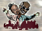 Framed Digital Art Mixed Media - Ray Charles and Count Basie - Reanimated by Sam Kirk