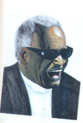 Soul Musicians Paintings - Ray Charles by Emmanuel Baliyanga