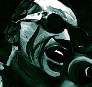 Drawings Framed Prints - Ray Charles Framed Print by Jeff DOttavio