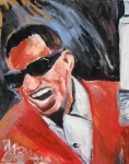 Ray Charles Prints - Ray Charles  Print by Jon Baldwin  Art