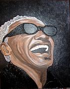 Keenya Woods Mixed Media Originals - Ray Charles by Keenya  Woods