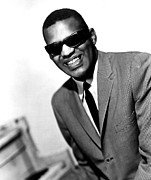 1960s Portraits Posters - Ray Charles, Portrait Ca. 1966 Poster by Everett