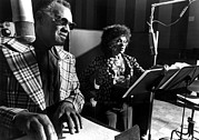Recording Studio Posters - Ray Charles, With Cleo Laine Recording Poster by Everett