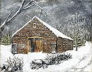 Winterland Scape Paintings - Ray Emersons Old Barn by Jack Skinner