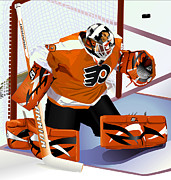 Goalie Digital Art Prints - Ray Emery No.29 Print by Steve Benton