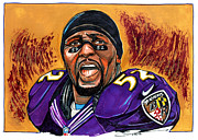 Ravens Drawings - Ray Lewis by Dave Olsen