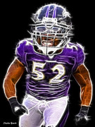Nfl Digital Art Framed Prints - Ray Lewis Framed Print by Stephen Younts