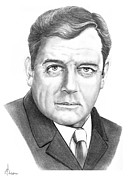 Famous People Drawings Framed Prints - Raymond Burr Framed Print by Murphy Elliott