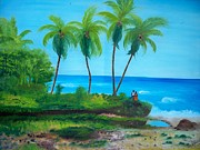 Haitian Paintings - Raymond Les Bains Beach Jacmel Haiti  2 by Nicole Jean-Louis