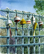 Bouys Paintings - Rays Fence by Paul Gardner