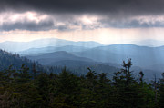 Smokey Mountains Framed Prints - Rays of Light Over the Great Smoky Mountains Framed Print by Pixel Perfect by Michael Moore