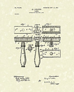 Mens Drawings Prints - Razor 1904 Patent Art Print by Prior Art Design