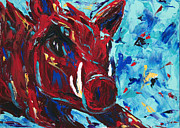 Mascot Painting Metal Prints - Razorback Metal Print by Beth Lenderman