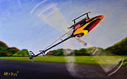Hobbies  Painting Originals - RC Helicopter by Alex Rios