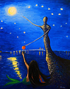 Night Out Painting Originals - Reach For Your Dreams by Andrea Realpe