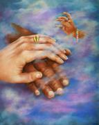Multicultural Paintings - Reaching for Love by Myra Goldick