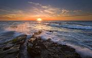Sunset Seascape Prints - Reaching for the Sun Print by Mike  Dawson
