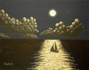Lit Painting Originals - Reaching to the Moon by Dan Shefchik