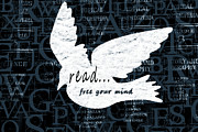 Reading Mixed Media Posters - Read Free Your Mind Teal Poster by Angelina Vick