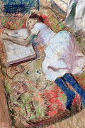 Girl Studying Posters - Reader Lying Down Poster by Edgar Degas
