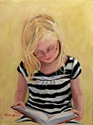 Young Girl Reading Paintings - Reading Bee by Carol Berning