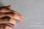 Reading Braille Print by Photo Researchers, Inc.