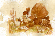 Girl Painting Posters - Reading Poster by Brian Kesinger