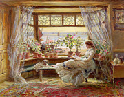Girl Dog Framed Prints - Reading by the Window Framed Print by Charles James Lewis