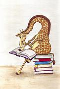 Reading Giraffe Print by Julia Collard