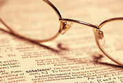 Dictionary Prints - Reading Glasses Print by Alan Sirulnikoff