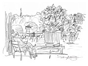 Garden Scene Drawings Posters - Reading in the Luxembourg Gardens Poster by Marilyn MacGregor