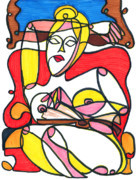 Relaxed Drawings Framed Prints - Reading Nude in a Red Armchair Framed Print by Suzanne  Frie