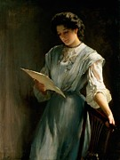 Brunette Painting Prints - Reading the Letter  Print by Thomas Benjamin Kennington