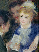 Fans Paintings - Reading the Role by Pierre Auguste Renoir