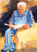 Blue Shirt Prints - Reading Time Print by Kathy Braud