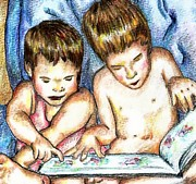 Kids Books Drawings Prints - Reading Together Print by Denny Phillips