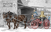 Percheron Drawings Posters - Ready and Waiting - Canal Fulton Ohio Fire Engine Print Poster by Kelli Swan