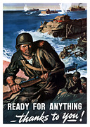 Patriotic Digital Art Posters - Ready For Anything Thanks To You Poster by War Is Hell Store