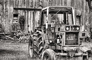 Red Tractors Framed Prints - Ready to Go BW Framed Print by JC Findley