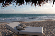 Chaise Photo Prints - Ready to Relax on a Tropical Beach Print by Karen Lee Ensley