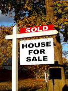 Sold Photo Posters - Real Estate Sold and House For Sale Sign on Post Poster by Olivier Le Queinec