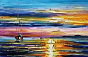 Lighthouse Oil Paintings - Real Sunset by Leonid Afremov