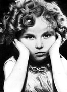 Temple Drawings - Realistic pencil drawing of Shirley Temple by Debbie Engel