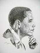 Obama Drawings Framed Prints - Realizing A Dream Framed Print by Otis  Cobb