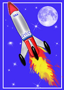 Outer Space Painting Posters - Really Cool Rocket in Space Poster by Elaine Plesser