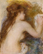 Nudes Framed Prints - Rear view of a nude woman Framed Print by Pierre Auguste Renoir