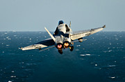 Carrier Posters - Rear View Of An Fa-18c Hornet Taking Poster by Stocktrek Images